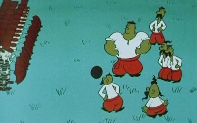 Кадр из мультфильма --Как казаки в футбол играли--
