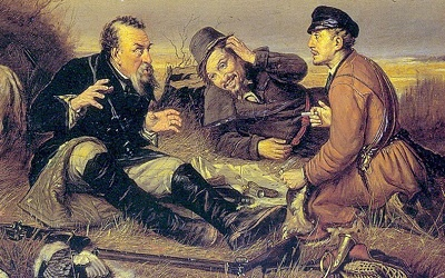 Охотники на привале, с картины Василия Перова